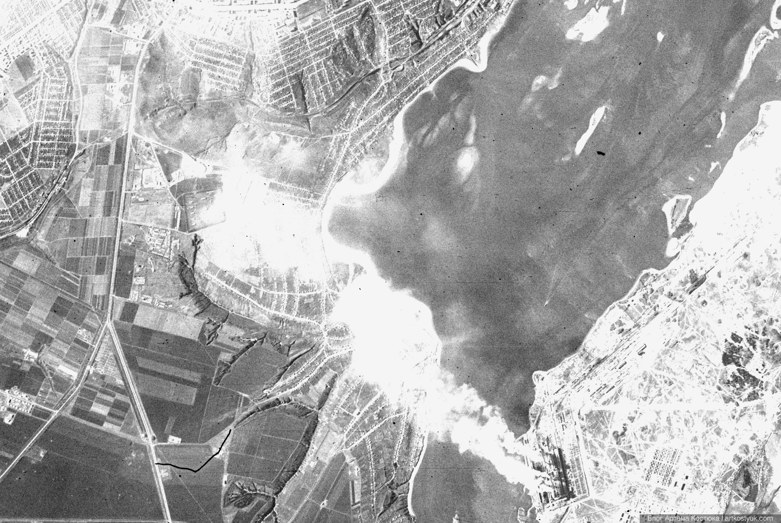спутниковый снимок Днепропетровска 1962 года